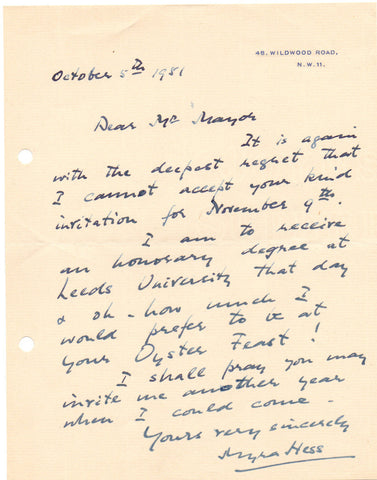 HESS Dame Myra - Autograph Letter Signed 1951 to the Mayor of Colchester