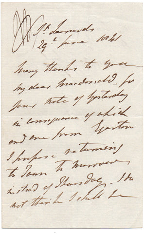 HILL Rowland 1st Viscount Hill - Autograph Letter Signed 1842