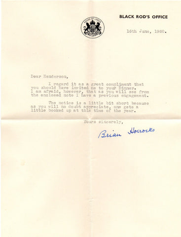 HORROCKS Sir Brian - Typed Letter Signed 1960 to the Deputy Knight Remembrancer