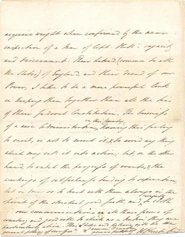 HUSKISSON William - Autograph Letter Signed 1829 objecting to American trade policies