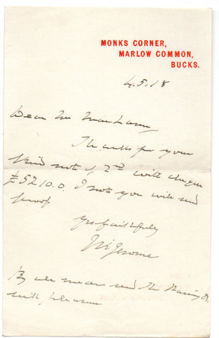 JEROME Jerome K. - Autograph Letter Signed 1918 sending thanks for a cheque