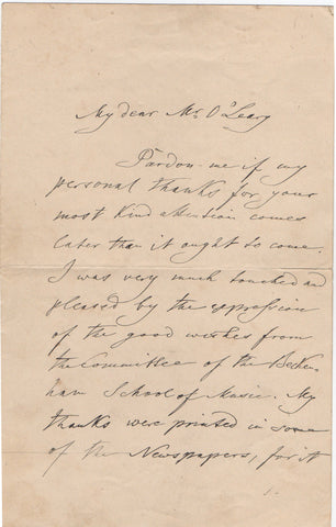 JOACHIM Joseph - Autograph Letter Signed 1899 thanking the Beckenham School of Music