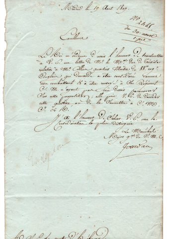 JOURDAN Marshal Jean Baptiste - Letter Signed 1809 regarding an English prisoner in Spain