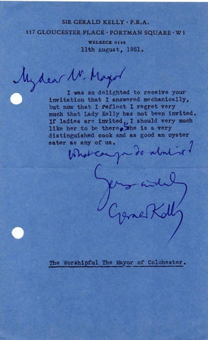 KELLY Sir Gerald - Four Typed Letters Signed 1951