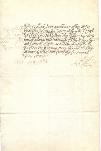 KIRKE Percy AYLMER Matthew and COMPTON Henry - Document Signed 1684