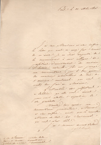 LACEPEDE comte de - Letter Signed 1806 to Serrurier thanking him for samples of wood from South America