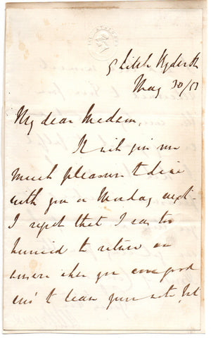 LAYARD Austen Henry - Autograph Letter Signed 1853 accepting an invitation