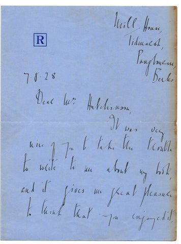LEHMANN Rosamond - Autograph Letter Signed 1928 about Dusty Answer
