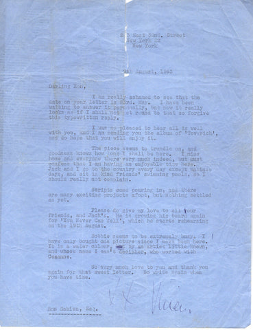 LEIGH Vivien - Typed Letter Signed 1963 during the run of Tovarich
