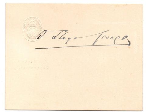 LLOYD GEORGE David - signature on House of Commons card