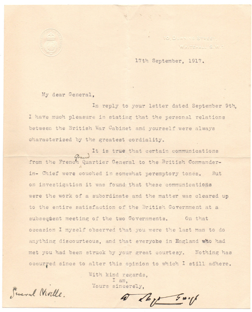 LLOYD GEORGE David - Typed Letter Signed 1917 to General Nivelle