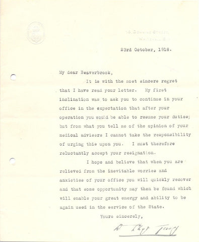 LLOYD GEORGE David - Typed Letter Signed to Lord Beaverbrook 1918