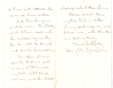 LONGFELLOW Henry Wadsworth - Autograph Letter Signed 1879 to a poet