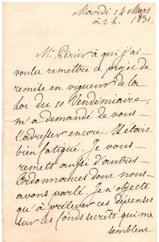 LOUIS PHILIPPE I - Autograph Letter Signed 1831 regarding matters under discussion with his ministers