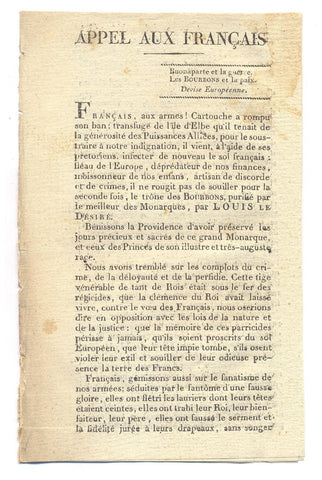 LOUIS XVIII - anti-Napoleon Pamphlet 1815
