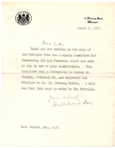 MACMILLAN Harold - Typed Letter Signed 1957 accepting a petition to increase pensions