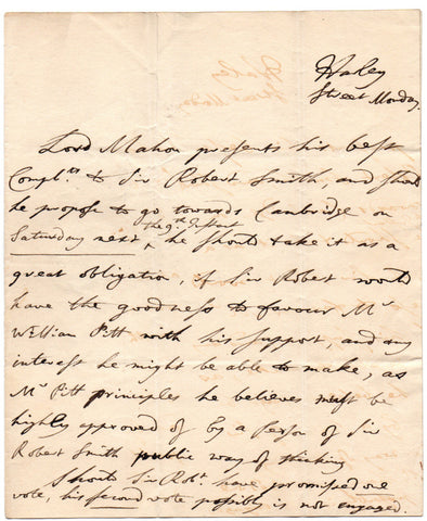 MAHON Charles - Autograph Letter canvassing support for William Pitt