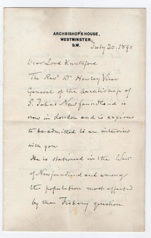 MANNING Henry Cardinal - Autograph Letter Signed 1890 about fishing in Newfoundland