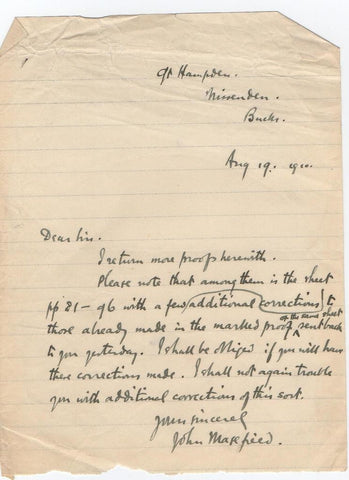 MASEFIELD John - Autograph Letter Signed 1910 regarding some proofs