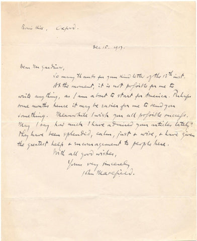 MASEFIELD John - Autograph Letter Signed 1917