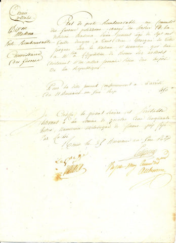 MASSENA André - Document Signed 1796 ordering compensation