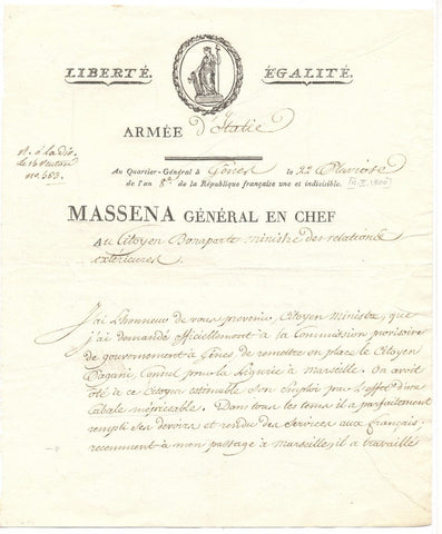 MASSENA André - Letter Signed to Citizen Bonaparte February 1800