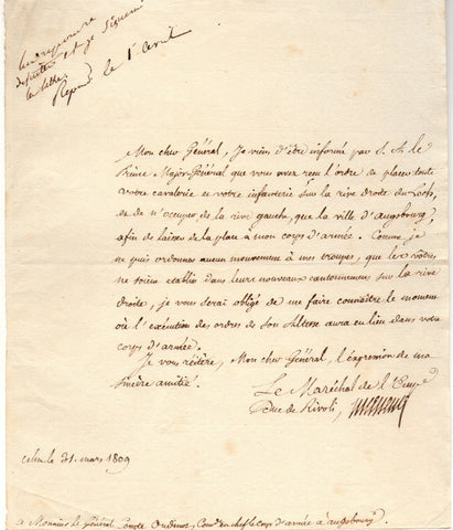 MASSENA Andre - Letter Signed 1809 at the start of the War of the Fifth Coalition