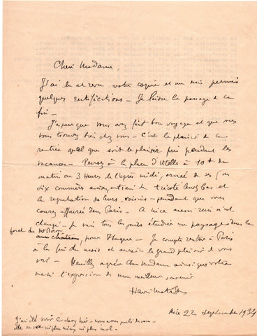 MATISSE Henri - Autograph Letter Signed 1934 studying the landscape of Mt. Boron