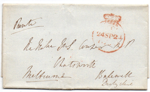 MELBOURNE William Lamb Viscount - Letter Cover Signed 1824