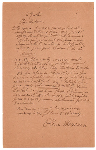 MESSIAEN Olivier - Autograph Letter Signed an invitation to hear Yvonne Loriod play his Preludes