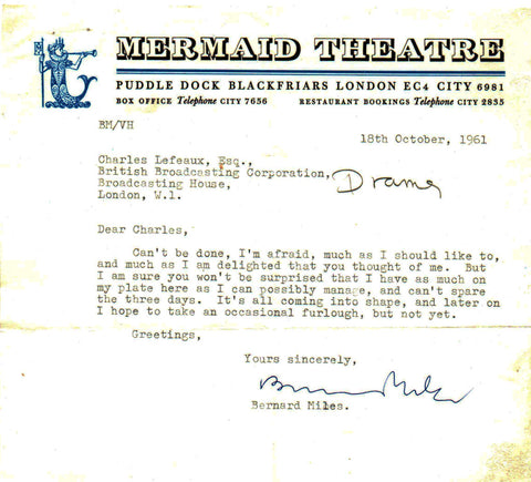 MILES Bernard - Typed Letter Signed 1961 declining a project because of pressure of work