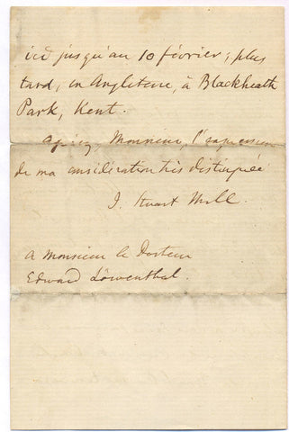 MILL John Stuart - Autograph Letter Signed in French 1868 about his works