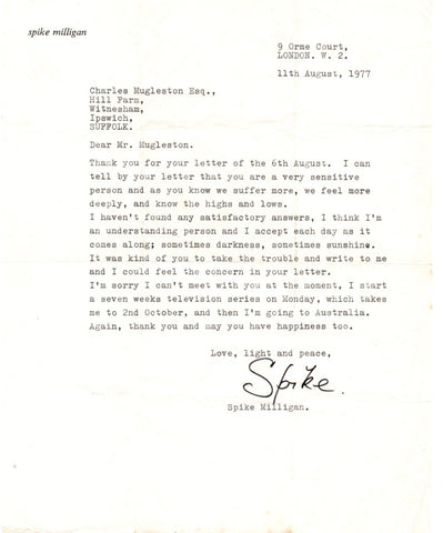 MILLIGAN Spike - Two Typed Letters Signed 1977-78 thanks for a letter of sympathy and support