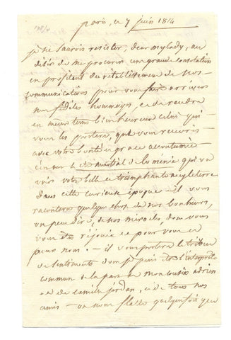 MONTMORENCY Mathieu duc de - Autograph Letter Signed 1814 to the Duchess of Devonshire