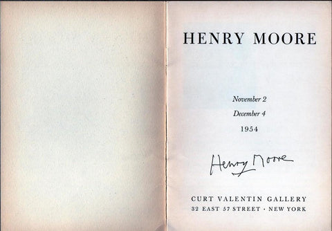 MOORE Henry - Exhibition catalogue Signed 1954