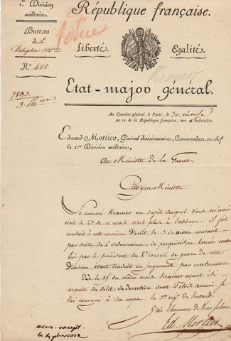 MORTIER Edouart - Letter Signed 1802 regarding a soldier acquitted of a desertion charge