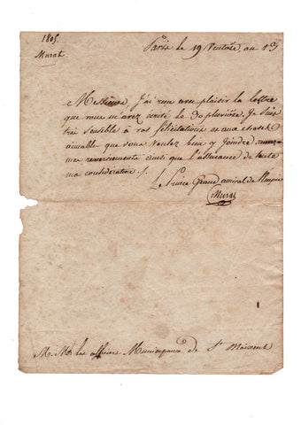 MURAT Joachim - Letter Signed 1805 acknowledging congratulations