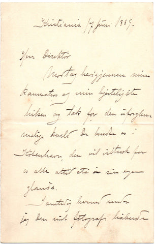 NANSEN Fridjof - Autograph Letter Signed 1889 after his return from the crossing of Greenland