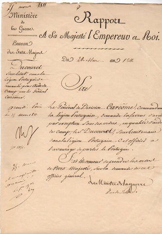 NAPOLEON I - Letter Signed 1811 regarding the Portuguese Legion