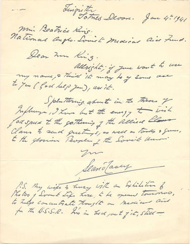 O CASEY Sean - Autograph Letter Signed 1941 regarding Anglo-Soviet Medical Aid