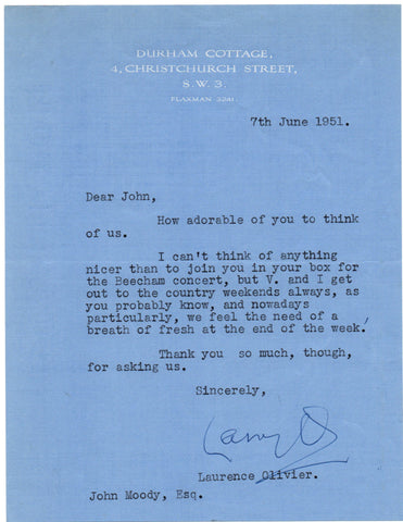 OLIVIER Laurence - Typed Letter Signed 1951 declining an invitation to a concert