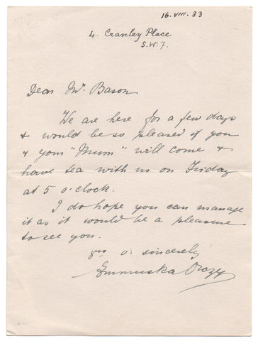 ORCZY Baroness - Autograph Letter Signed inviting a bookseller to tea