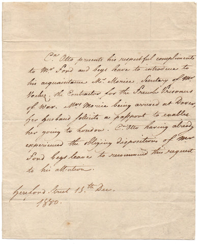 OTTO Count - Autograph Letter 1800 from the diplomat requesting a passport