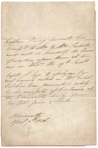 PARRY William Edward - Autograph Letter 1826 from the Arctic explorer