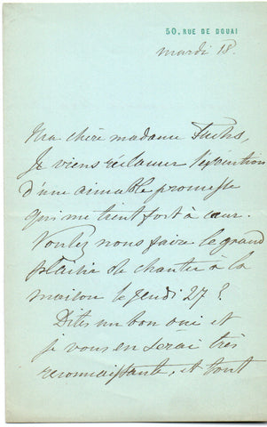 VIARDOT Pauline - Autograph Letter Signed arranging a musical evening