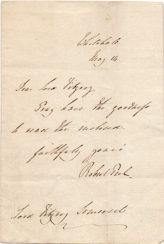 PEEL Robert - Autograph Letter Signed 1827 to Lord Fitzroy Somerset