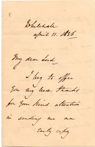 PEEL Robert - Autograph Letter Signed 1836 to Marquess Wellesley