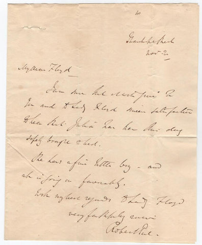 PEEL Sir Robert - Autograph Letter Signed announcing the birth of a son