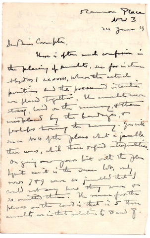 PETRIE Sir Flinders - Autograph Letter Signed 1919 regarding the placing of amulets on mummies