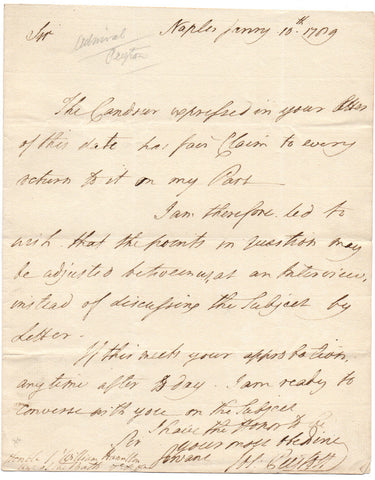 PEYTON Joseph - Autograph Letter Signed 1789 in Naples to Sir William Hamilton